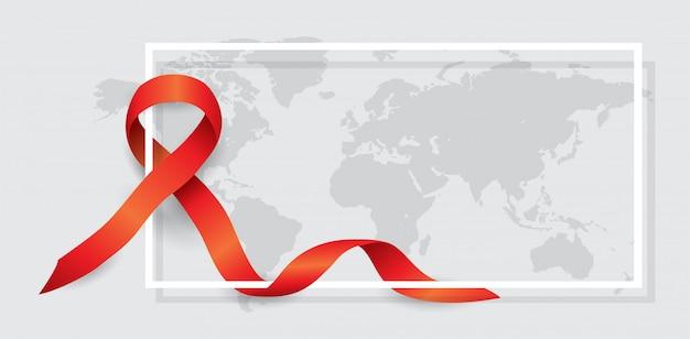 Testuj świat z czerwoną wstążką na mapie świata z białą ramką.