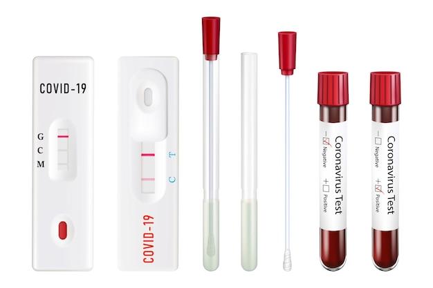Testy na koronawirusa. sterylna probówka z wacikiem na próbki, probówka z krwią, ekspresowy test prostokątny. pozytywny i negatywny. wektor zestaw realistycznych ilustracji 3d.