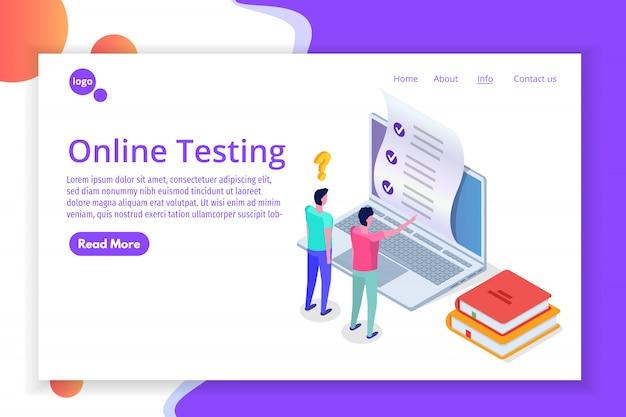 Testy online, e-learning, koncepcja izometryczna edukacji. ilustracja.