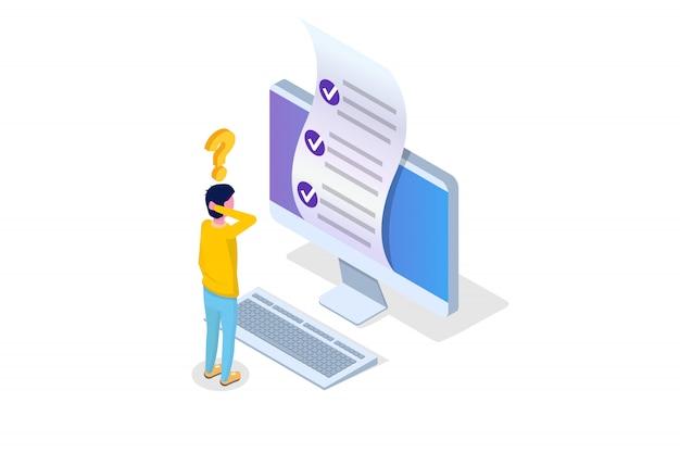 Testy online, e-learning, koncepcja izometryczna edukacji. ilustracji wektorowych.