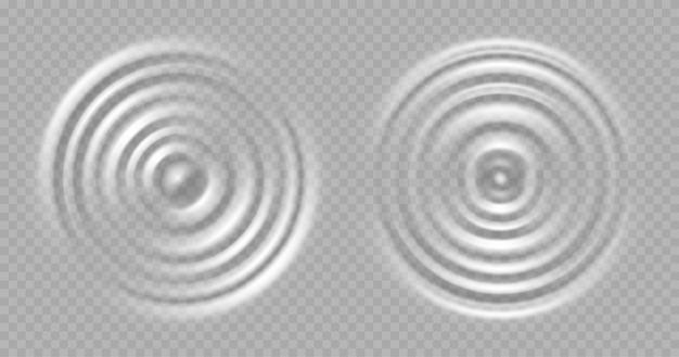 Tętnienia wody. okrągłe powierzchnie fali na przezroczystym tle