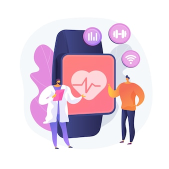 Tętno na smartwatchu. przenośny lokalizator tętna. zegar na rękę, zegarek z ekranem dotykowym, aplikacja do opieki zdrowotnej. asystent fitness. gadżet do treningu. ilustracja wektorowa na białym tle koncepcja metafora.