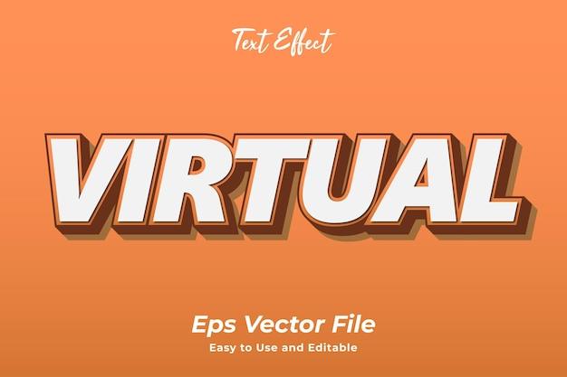 Text effect virtual edytowalny i łatwy w użyciu wektor premium