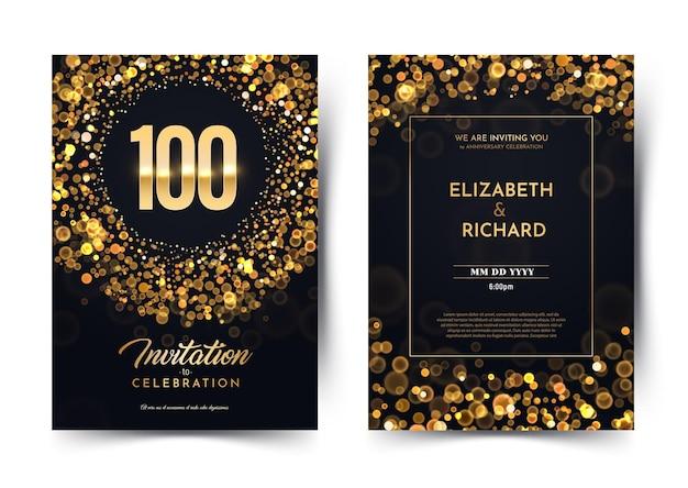 Th lata urodziny wektor czarny papier luksusowy zaproszenie podwójna karta sto lat ślub