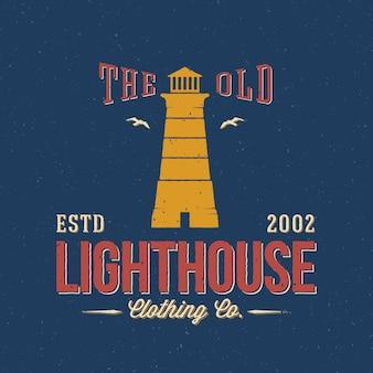 The old lighthouse clothing co. morskie streszczenie retro etykiety lub logo szablon