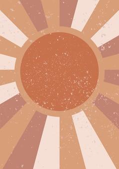 The sun minimalistyczna geometryczna sztuka ścienna abstrakcyjny krajobraz do estetycznego wnętrza boho
