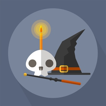 The witch skull and magic wand