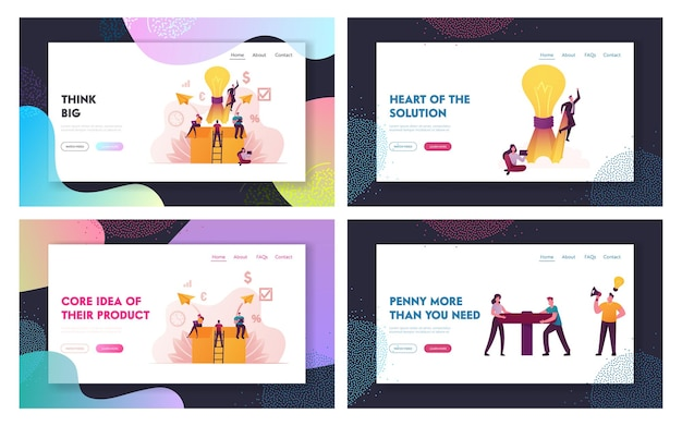 Think outside and money flow landing page template set.