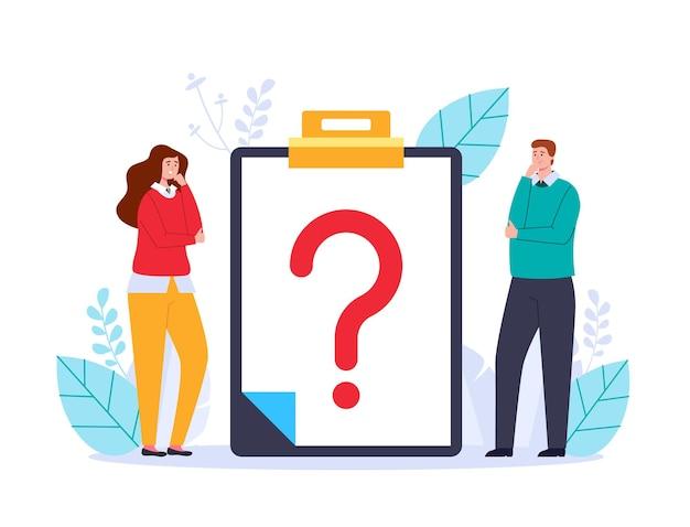 Thinkig pracowników biurowych biznesowych znaków zadawanie pytań i wyszukiwanie odpowiedzi w sieci web adstract ilustracja