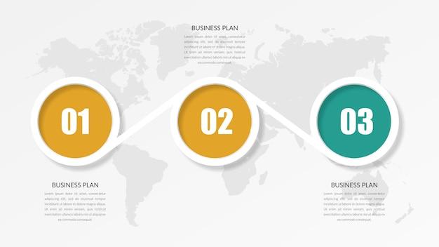 Three point abstract infographic element strategii biznesowej