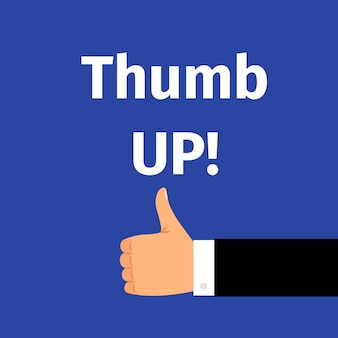 Thumbs up text with hand