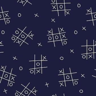 Tictactoe bezszwowe tło na ciemnoniebieskiej ilustracji wektorowych