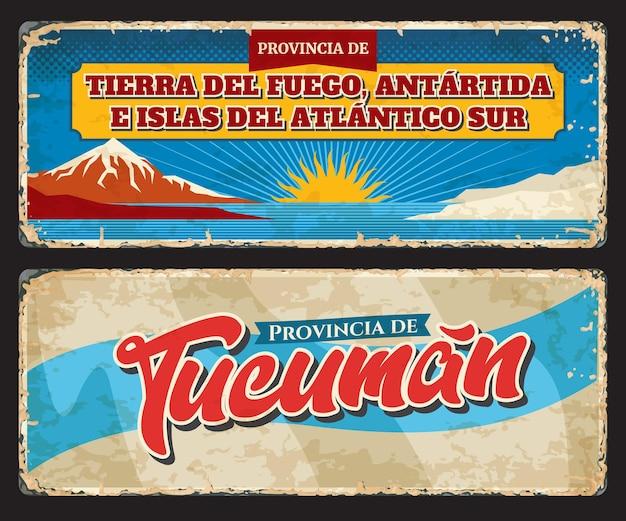 Tierra del fuego, antartida e islas del atlantico sur i tucuman argentyńskie regiony vintage znak blaszany. prowincje grunge wektor talerze, banery z flagą regionu, zabytki przyrody i symbole