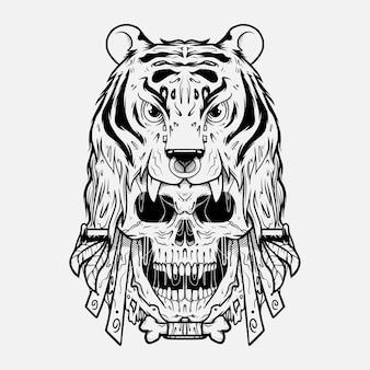 Tiger head on skull illustrattion inking