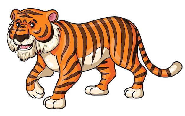 Tiger walk cartoon