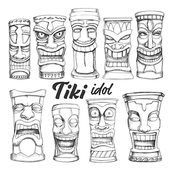 Tiki idol collection totem vintage set