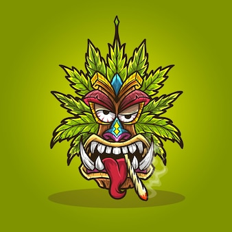 Tiki maska konopi marihuany palenie chwastów.