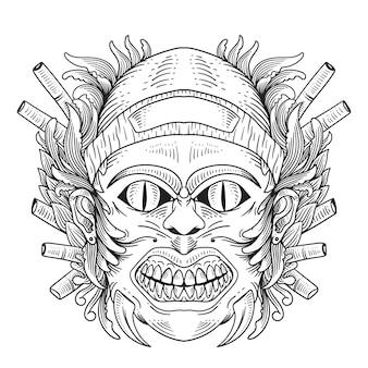 Tiki tradycyjna hawajska maska plemienna z ludzką twarzą i płonącym ogniem drewniany symbol totemu