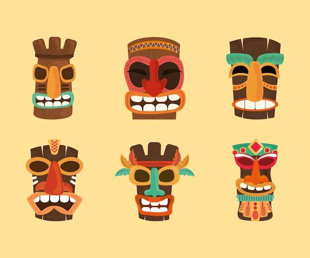 Tiki tribal hawaii totem tradycyjny drewniany, kolekcja ikon ilustracji