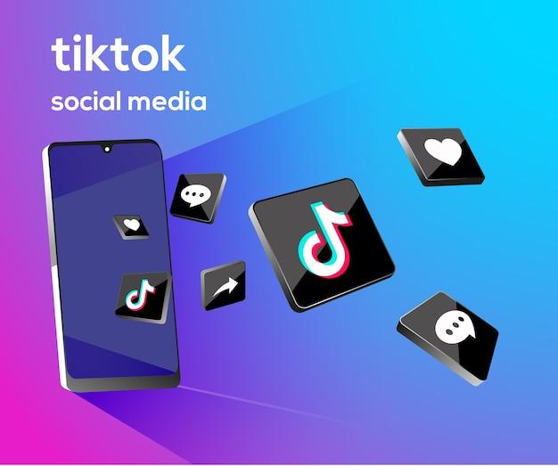 Tiktiok 3d ikony mediów społecznościowych z symbolem smartfona
