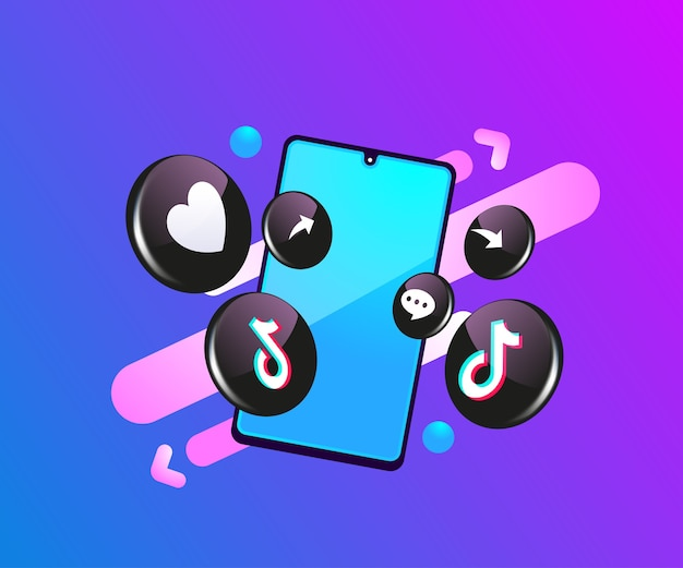 Tiktok 3d ikony mediów społecznościowych z symbolem smartfona