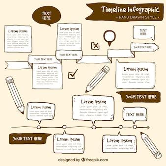 Timeline infografika szablon w stylu rysowane ręcznie
