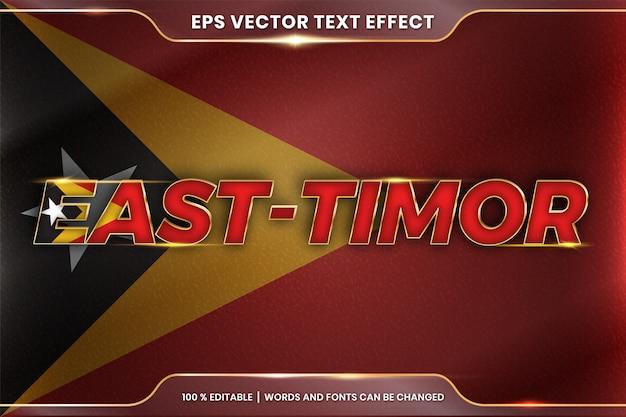 Timor wschodni z flagą kraju, edytowalny styl efektu tekstowego z koncepcją gradientu w kolorze złotym