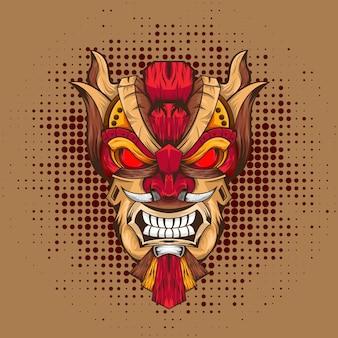 Tink maska i koncepcja ilustracji azteckiego egiptu wektor premium