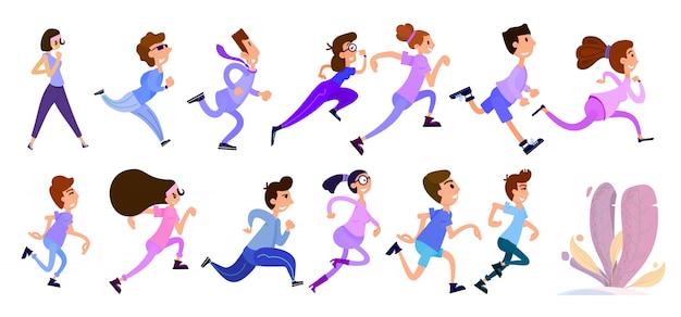 Tiny ludzi biegających
