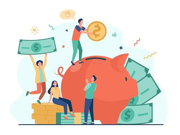 Tiny ludzie oszczędzają pieniądze w piggy bank na białym tle płaska ilustracja.