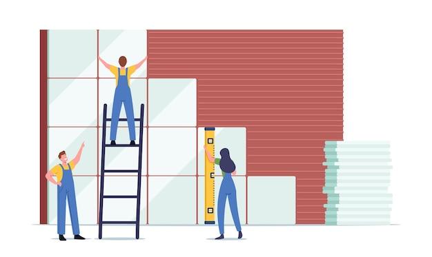 Tiny workers męskie i żeńskie postacie z ogromnym poziomem i drabiną układającą ceramikę na ścianie