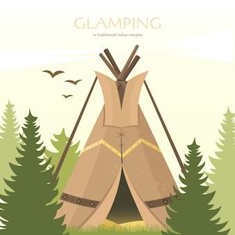 Tipi indiańskie w stylu sioux. namiot ogrodowy lub do podróży.