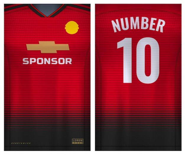 Tkanina na t-shirt sport, koszulka piłkarska dla klubu piłkarskiego. jednolity widok z przodu iz tyłu.