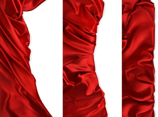 Tkaniny draperie. czerwone tkaniny. 3d realistyczny wektor zestaw.