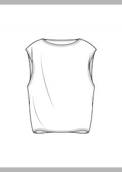 Tkany top moda płaski rysunek techniczny szablon