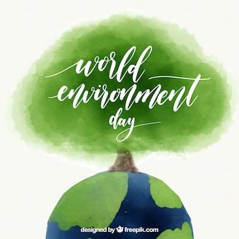 Tła akwarela dla świata środowiska dzień