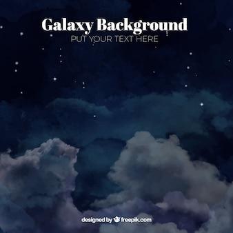 Tła akwarela galaktyki z chmurami