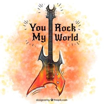Tła akwarela gitara elektryczna