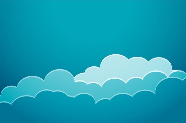 Tła błękitny chmury cięcia papieru styl