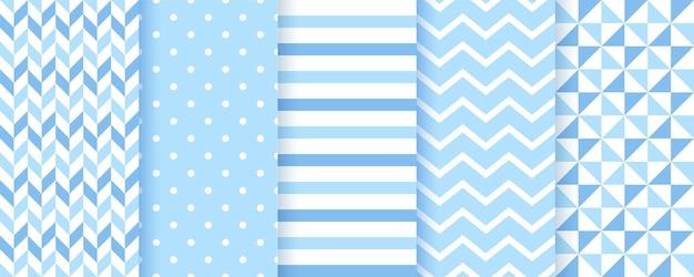 Tła dla dzieci. niebieskie wzory bez szwu. chłopiec dziecko tekstury geometryczne. wektor. zestaw pastelowych nadruków tekstylnych dla dzieci. śliczne dziecinne tło w kropki, zygzak i paski. nowoczesna ilustracja.