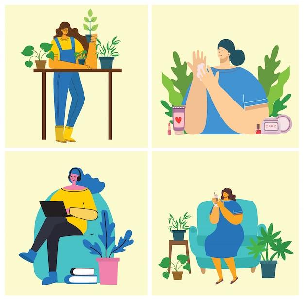 Tła działalności kobiet. kobiety ogrodnictwo, gotowanie, czytanie i koncepcja pracy w nowoczesnym stylu płaski