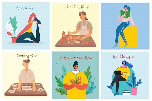 Tła działalności kobiet. kobiety robią jogi, gotowania, czytania i pracy koncepcja w stylu płaski