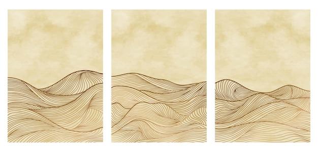 Tła krajobrazy z nadrukiem grafiki liniowej. z górą, morzem, panoramą, falą