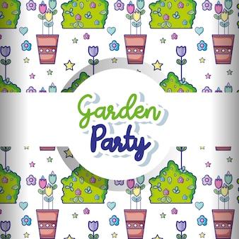Tła kreskówki ogródu przyjęcia wzór