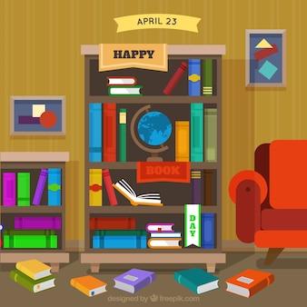 Tła półka z książkami