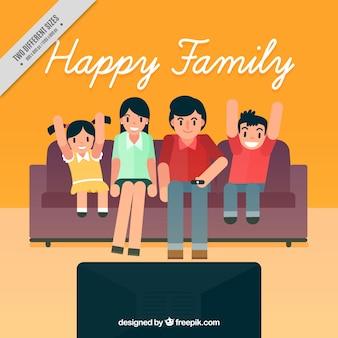 Tła rodzina w salonie oglądanie telewizji