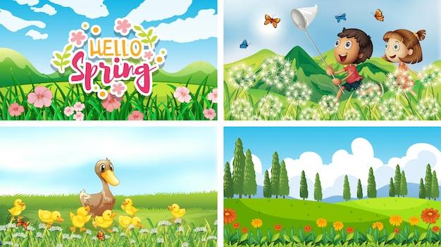Tła sceny natury z dziećmi i zwierzętami w parku