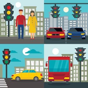 Tła semaforów sygnalizacji świetlnej