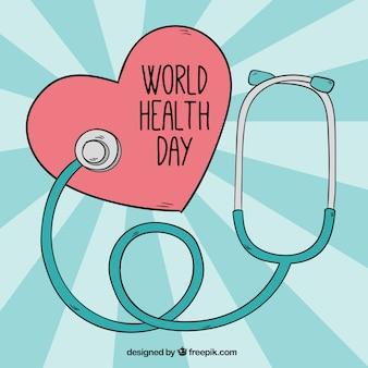 Tła serce z stetoskop