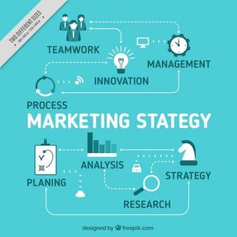 Tła strategia marketingowa w niebieskich kolorach